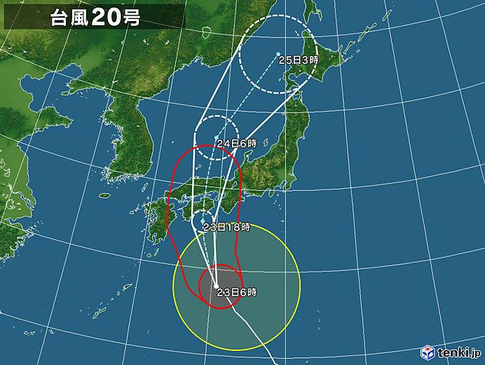 台風20号接近