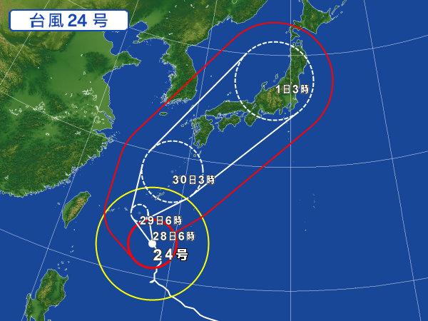 台風24号接近中