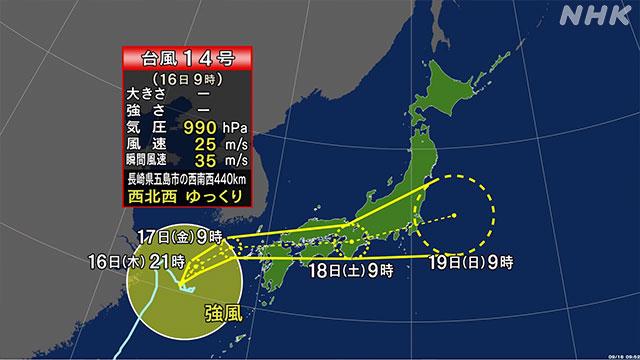 台風14号接近中